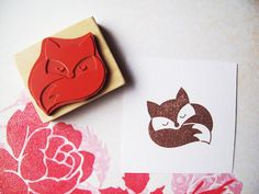 Sleeping Fox Rubber Stamp Handmade Woodland Stamp by HappyRainyDay, $13.00