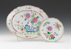 Chinese Export Famille Rose Plate and Platter, ca. 1725-1780 Both pieces of Famille Rose Chinese export ware are beautifully hand-painted with polychrome of floral designs and a spear-head border