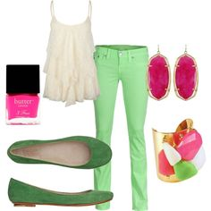 Fan-created Polyvore board with my cuff -pink and green