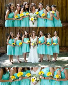 Bridesmaids - yellow and white flowers, my bouquet will have yellow white and aqua :) groomsmen in dark brown
