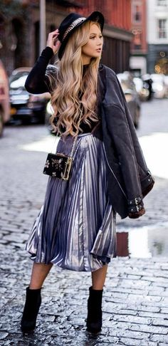 fall outfit inspiration_hat + jacket + top + midi skirt + boots + bag