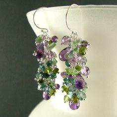 Purple and Green Gemstone Cluster Sterling Silver Earrings - Amethyst, Peridot, Vesuvianite, Tourmaline. $139.00, via Etsy.