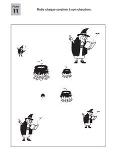 12 fiches de mathématiques et de maîtrise de la langue à destination des GS, sur le thème des sorcières.
