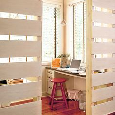 Make built-in room dividers to create an office in a larger room!