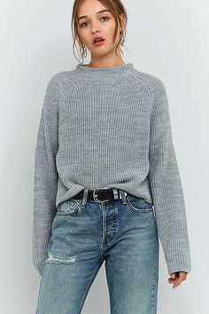 BDG High Neck Ribbed Fisherman Jumper - Urban Outfitters | @giftryapp