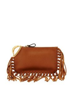 Valentino ~ Leather Fringe Clutch