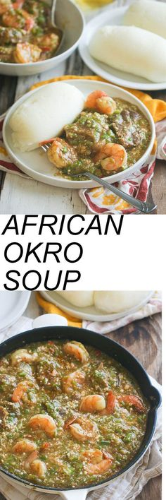 African Okro Soup-Quick & healthy. Oh so easy yet yummy! Okro Soup African style loaded with shrimp , oxtails -with or without Egusi.