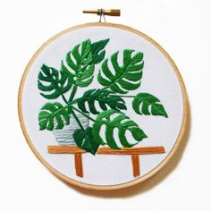 Sarah Benning's Monstera embroidered artwork, available to purchase from her…