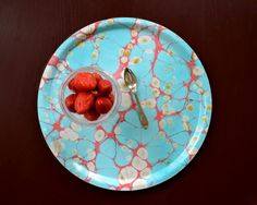 Our round tray 'Turquoise Dreams' available at studioformata.se