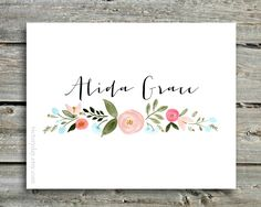 Custom Name print of watercolor wreath painting by VictoryDay