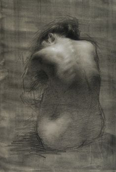 """NADIA - CHARCOAL ON TONED PAPER HEIGHTENED WITH WHITE - 24 x 18"""" - 2010"""