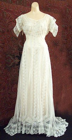 This lovely Edwardian dress is machine-embroidered and has machine-lace inserts, but the work and fabric are much finer than that in the example above. The dress is beautifully hand finished with silk-bound edges and tiny hand-crocheted buttons.          For the advanced collector:  This exquisite Edwardian gown, custom made in Paris for a member of the family of Commodore Perry,          exhibits all the fine hand finishing that you should expect in an expensive gown.              The gown ...