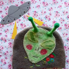 alien baby upcycled merino hat