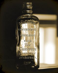 art print of a vintage Champion embalming fluid bottle; <3 this