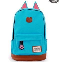 Popular Trend Quality Canvas Large-Capacity Fashion Design Cat Ear Solid-Colored Backpack 9 Colors