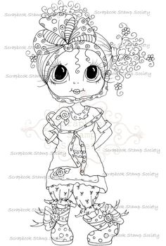 INSTANT DOWNLOAD Digital Digi Stamps Big Eyed My Bestie Digi Stamp Besties Big Head Dolls Digi IMG756 By Sherri Baldy