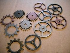 12 Mixed Metal Clock Gears/Watch Gears by theslipperypearl on Etsy, $6.25