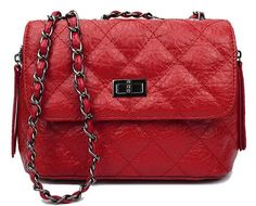 Textured leather classic diamond quilted shoulder bag.