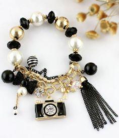 Gold Bead Chain Tassel Camera Bracelet