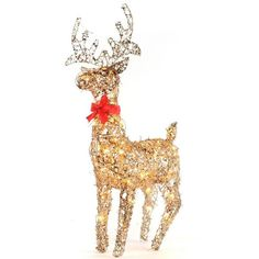 Pre-Lit Tinsel Reindeer, 34 in. ($17) ❤ liked on Polyvore featuring home, home decor, holiday decorations, christmas, holiday reindeer decorations, outdoor holiday decorations, christmas holiday decor, outdoor holiday decor and outdoor home decor