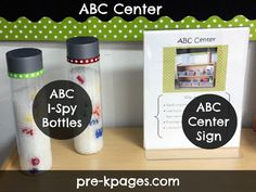 Alphabet I-Spy Bottles for pre-k, preschool, or kindergarten via www.pre-kpages.com