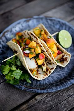 Chipotle Fish Tacos with Cilantro Peach Salsa by feastingathome Fish Recipes, Seafood Recipes, Mexican Food Recipes, Great Recipes, Cooking Recipes, Favorite Recipes, Healthy Recipes, Tilapia Recipes, Healthy Lunches