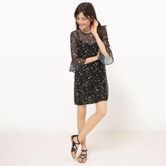 Sukienka, rękaw ¾, kwiatowy nadruk nadruk tło czerń Mademoiselle R | La Redoute