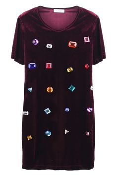 Stereoscopic Geometric Pattern Purplish-red Shift Dress