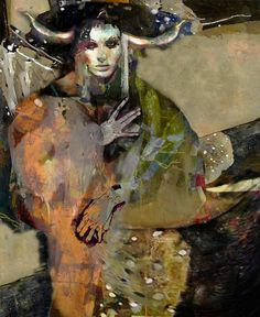"Super gorgeous works!!! Saatchi Online Artist: Suhair Sibai; Paint, 2011, Mixed Media ""The Girl and the Dragon."""