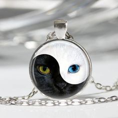 YIN YANG Cat Pendant Glass Blue Cat Eye Silver Round Dome Necklace