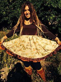 Items similar to fallen leaves picnic apron top on Etsy Fallen Leaves, Autumn Leaves, Fall Picnic, Wearable Art, Pumpkins, Mushrooms, Baby Dolls, Corset, Perfect Fit