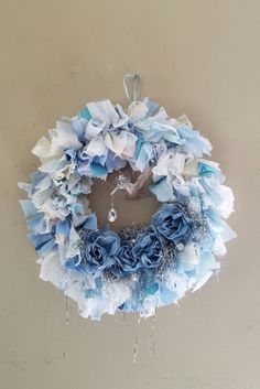 BLUE & WHITE Rag Wreath Fabric Wreath Wall by TheVintageStories
