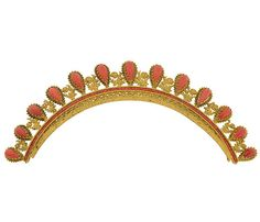 French Empire Regency Era Faceted Coral & Gilt Tiara. This piece is made of gilded brass and decorated with fine filigree wirework and hand cut coral. Thirteen teardrop shaped coral stones represent the points of the tiara and a row of faceted coral stones form a single row at the base. ca. 1800's