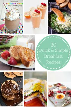 From waffles to eggs to smoothies I'm bringing together 30 quick, delicious, and simple breakfast recipes for your family to enjoy on busy mornings!