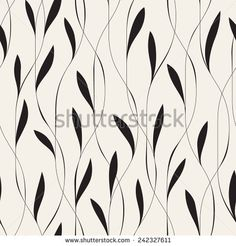 Vector seamless pattern. Floral stylish background. Elegant monochrome branches with narrow thin leaves