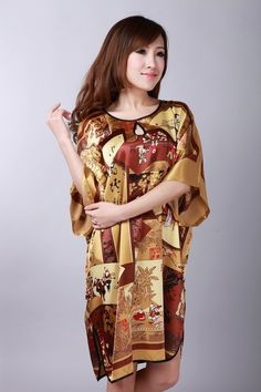 2014 High Fashion Coffee Ladies' Polyester Nightdress Vintage Yukata Gown Sexy Soft Home Wear Charming Sleepwear One Size NS0062 #Affiliate