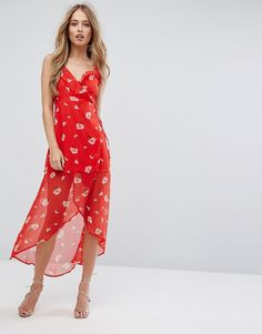 Missguided Floral Print Wrap Dress - Red