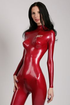 red latex catsuit - so very tight