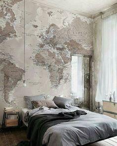 Masculine bedroom mural wallpaper