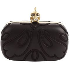 Alexander McQueen 3d Leather Baroque Punk Skull Box Clutch ❤ liked on Polyvore