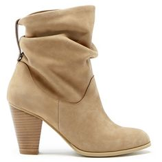 Sole Society Tularosa Slouchy Heeled Bootie found on Polyvore featuring shoes, boots, ankle booties, heels, ankle boots, booties, camel, leather ankle boots, high heel ankle booties and western ankle boots