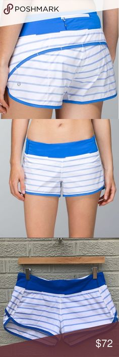 "Lululemon Run: Speed Short Stripe Pipe Dream Blue Lululemon Run: Speed Short *2-way Stretch in Deauville Stripe Pipe Dream Blue White / Pipe Dream Blue! Love these comfy & cool shorts! Lightweight Swift fabric - sweat-wicking, & soft Light Luxtreme fabric waistband with continuous drawcord ensures a proper fit & won't dig in. Split legs for comfort. Back zip pocket. Lined. Rise: low. Inseam: 2 1/2"". Size 6. 15"" across waist. Previously loved. Inside left hip has a lipstick stain. See last…"