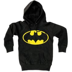 Logoshirt Age 2 to 8 Black Batman Hoodie ($70) ❤ liked on Polyvore featuring hoodies, tops, batman, jackets and shirts