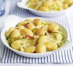 If you're a fan of gnocchi like me you'll probably like this. Gnocchi with courgette, mascarpone and spring onions - really tasty and looks impressive despite it being exceptionally simple. Bbc Good Food Recipes, Veggie Recipes, Vegetarian Recipes, Cooking Recipes, Cheese Recipes, Healthy Recipes, Gnocchi Dishes, Pasta Dishes, Spring Onion Recipes