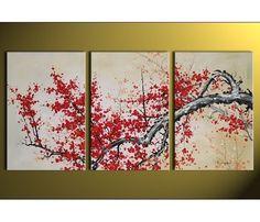 Tableau triptyque arbre japonais