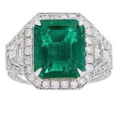 6.10 Carat Untreated Colombian Emerald Diamond Platinum Ring
