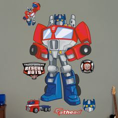 Fathead Hasbro Transformers Optimus Prime Rescue Bots Peel and Stick Wall Decal Hasbro Transformers, Transformers Optimus Prime, Rescue Bots, Young Boys, Cool Walls, Cool Toys, Wall Decals, Superhero, Cool Stuff