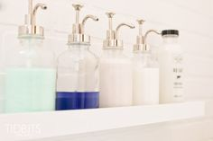 Cottage Bathroom makeover by TIDBITS.  ---- I love the way the shampoo & body wash is displayed!!........K