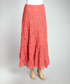Look at this #zulilyfind! IRE Dark Coral Tiered Floral Mesh Maxi Skirt by IRE #zulilyfinds