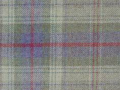 Curtain Fabric 100% Wool Tartan Lavender Green Check Plaid Upholstery By Metre